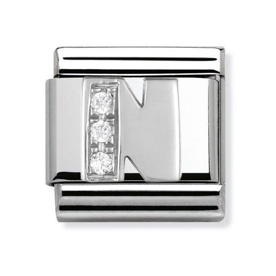 Silver and Cubic Zirconia Letter N Classic Charm