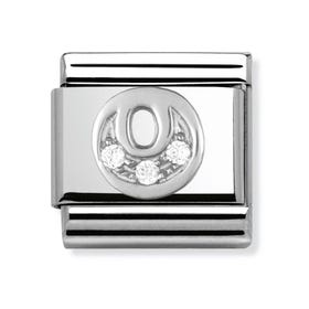 Silver and Cubic Zirconia Letter O Classic Charm