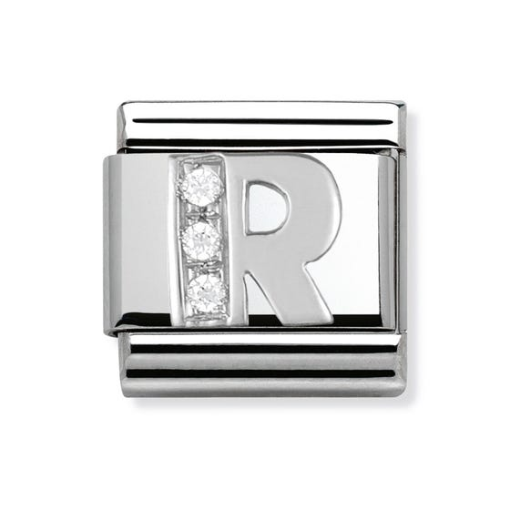 Silver and Cubic Zirconia Letter R Classic Charm