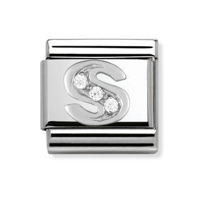 Silver and Cubic Zirconia Letter S Classic Charm
