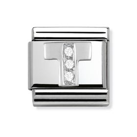 Silver and Cubic Zirconia Letter T Classic Charm