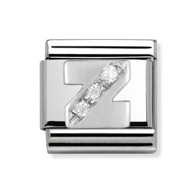 Stainless Steel, Silver and Cubic Zirconia Letter Z Classic Charm