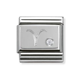 Silver and Cubic Zirconia Aries Classic Charm