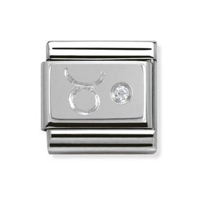 Stainless Steel, Silver and Cubic Zirconia Taurus Classic Charm