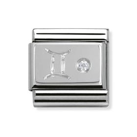 Stainless Steel, Silver and Cubic Zirconia Gemini Classic Charm