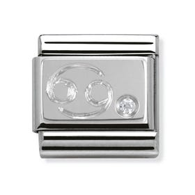Stainless Steel, Silver and Cubic Zirconia Cancer Classic Charm