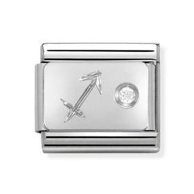 Silver & Cubic Zirconia Sagittarius Classic Charm