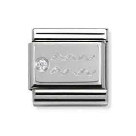 Silver and Cubic Zirconia Aquarius Classic Charm
