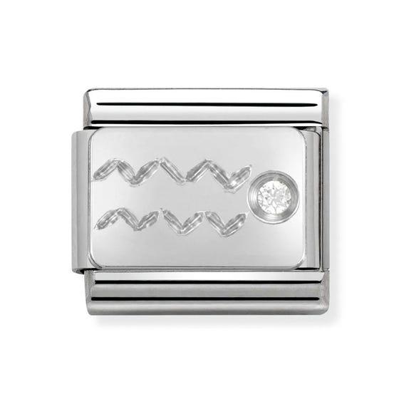 Silver and Cubic Zirconia Aquarius Classic Charm