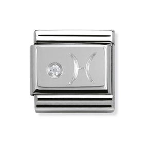 Stainless Steel, Silver and Cubic Zirconia Pisces Classic Charm