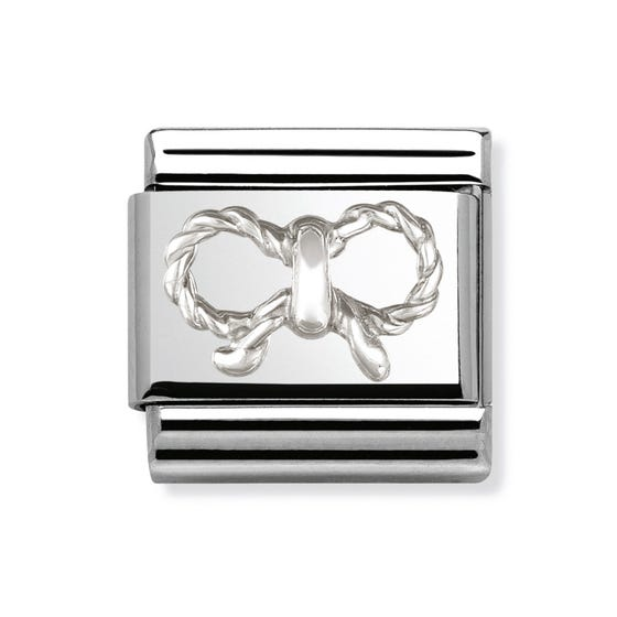 Stainless Steel and Silver Bow Classic Charm