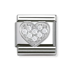 Silver and Cubic Zirconia Heart Classic Charm
