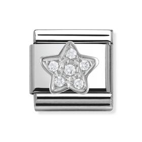 Stainless Steel, Silver and Cubic Zirconia Star Classic Charm