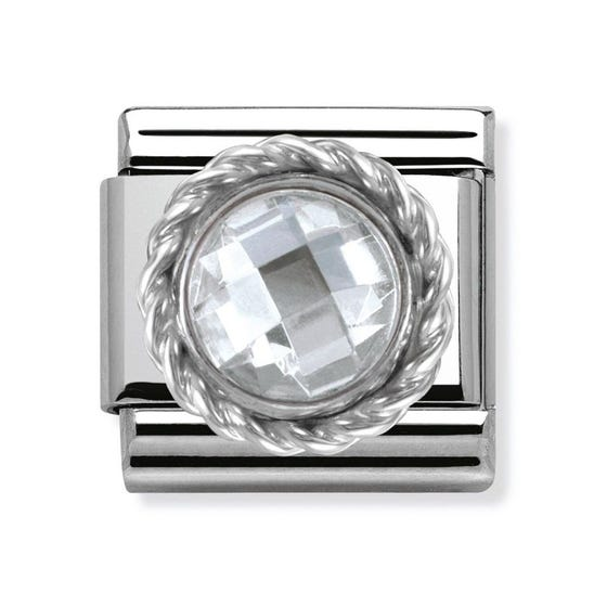 Silver and Clear Cubic Zirconia Classic Charm