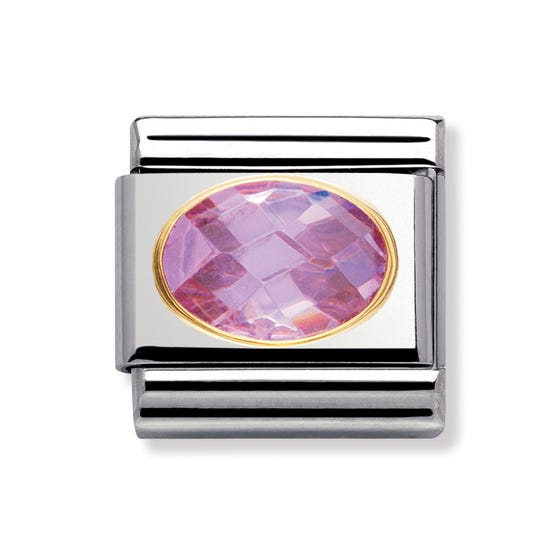18ct Gold and Pink Cubic Zirconia Classic Charm