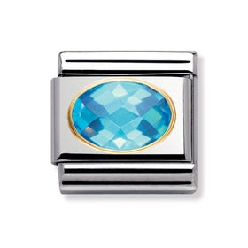 18ct Gold and Light Blue CZ Classic Charm