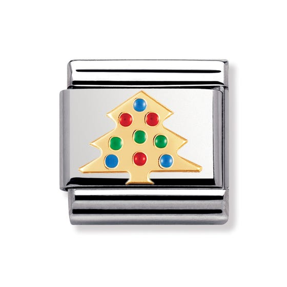 Stainless Steel, 18ct Gold and Enamel Christmas Tree Classic Charm