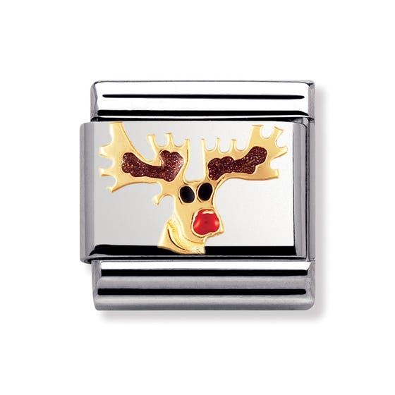Stainless Steel, 18ct Gold and Enamel Rudolph Classic Charm