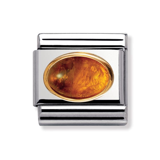 18ct Gold and Amber Classic Charm
