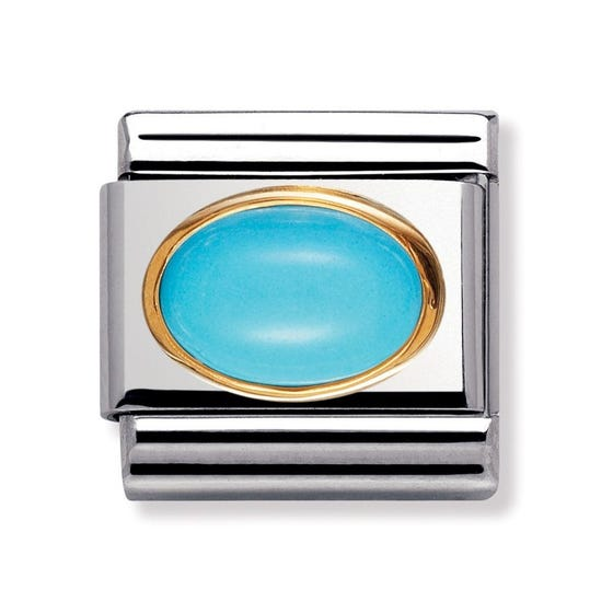 Steel, 18ct Gold & Turquoise December Birthstone Classic Charm