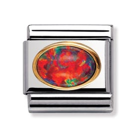 Stainless Steel, 18ct Gold and Red Opal Classic Charm