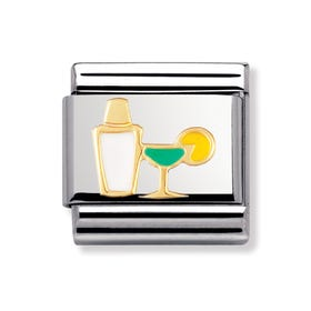 Stainless Steel, 18ct Gold and Enamel Cocktail Classic Charm
