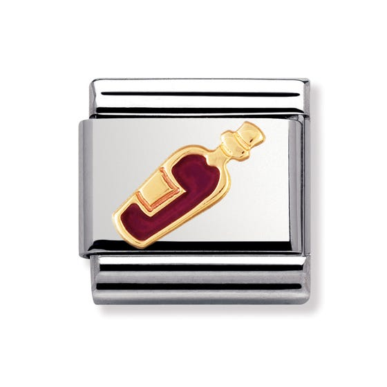 Stainless Steel, 18ct Gold and Enamel Red Wine Classic Charm