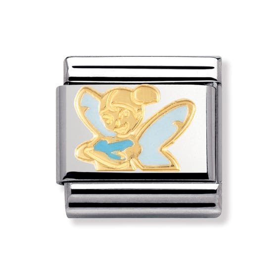 Stainless Steel, 18ct Gold and Enamel Tinker Bell Classic Charm