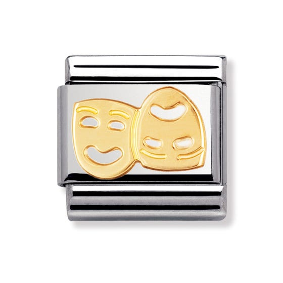 Stainless Steel and 18ct Gold Masks Classic Charm