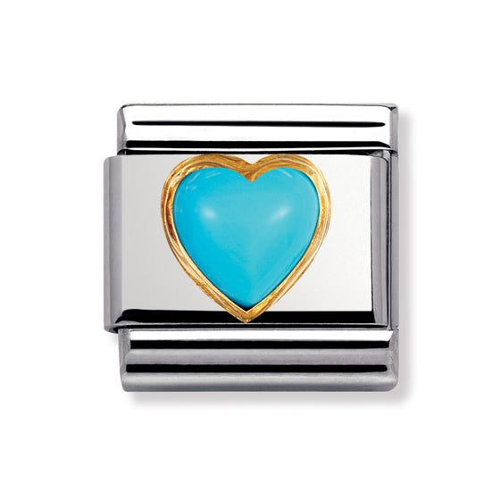 Turquoise December Birthstone Heart Classic Charm