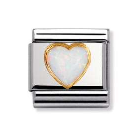 Classic Gold & Opal October Birthstone Heart Charm