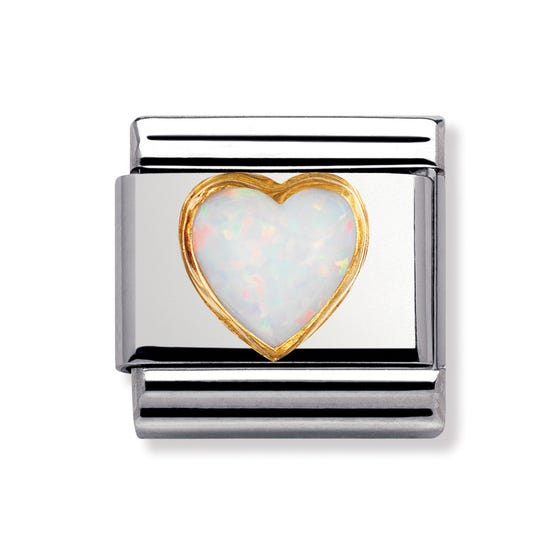 18ct Gold & Opal October Birthstone Heart Charm