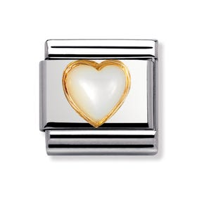 Steel, 18ct Gold and White Mother of Pearl Heart Classic Charm