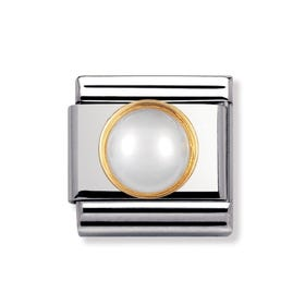 18ct Gold and White Pearl Classic Charm