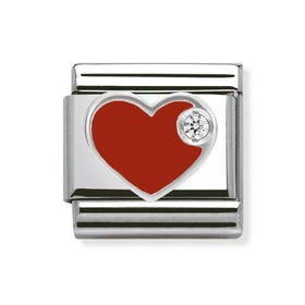 Stainless Steel, Silver, Enamel & Cubic Zirconia Heart Classic Charm