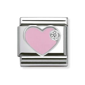 Silver & CZ Light Pink Heart Classic Charm