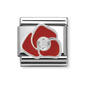 Silver, Cubic Zirconia & Rose Classic Charm