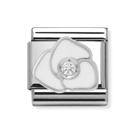 Silver CZ and Enamel White Rose Classic Charm