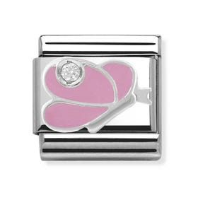 Stainless Steel, Silver, CZ & Enamel Pink Butterfly Classic Charm