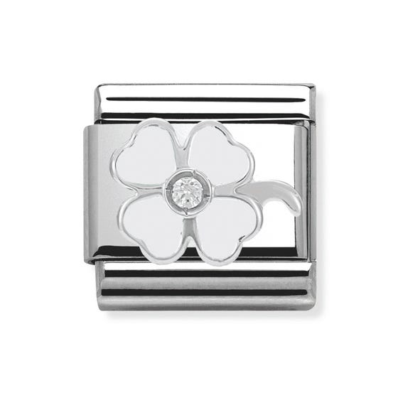 Stainless Steel, Silver, CZ & Enamel Four-Leaf Clover Classic Charm