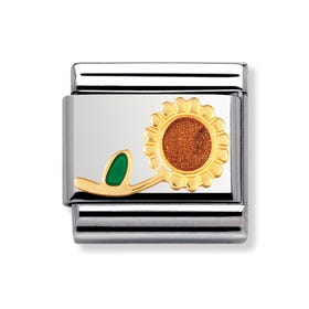 Stainless Steel, 18ct Gold and Enamel Sunflower Classic Charm