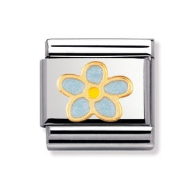 Stainless Steel, 18ct Gold and Enamel Forget-Me-Not Classic Charm