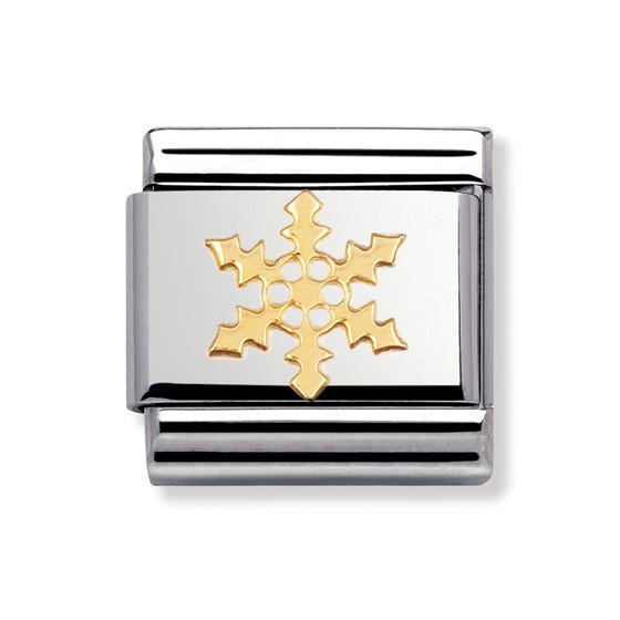 Stainless Steel and 18ct Gold Snowflake Classic Charm