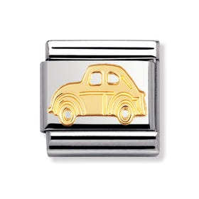 Stainless Steel and 18ct Gold Car Classic Charm