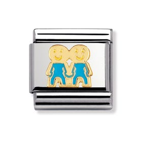 18ct Gold and Enamel Blue Boys Classic Charm