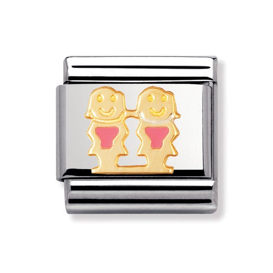 18ct Gold and Enamel Pink Girls Classic Charm