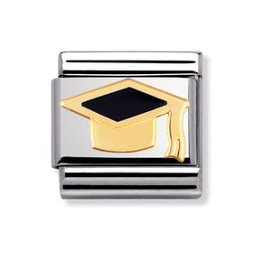 18ct Gold & Black Graduation Hat Classic Charm