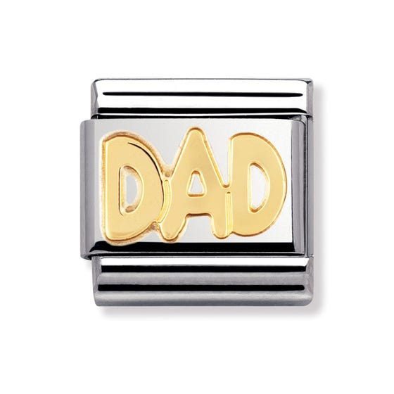 Stainless Steel and 18ct Gold Dad Classic Charm