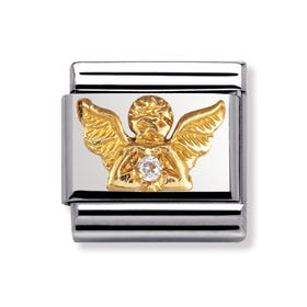 18ct Gold and Cubic Zirconia Angel Classic Charm