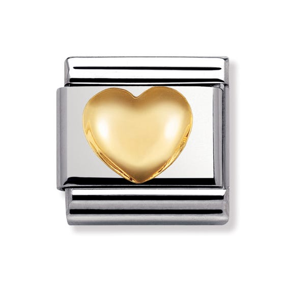 18ct Gold Raised Heart Classic Charm